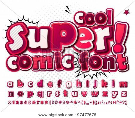 Cool High Detail Comic Font In Pink Colors. Comics, Pop Art.