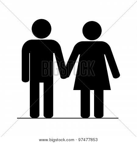 Couple Icon Black Vector