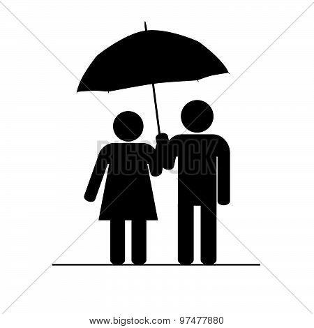 Couple Icon With Umbrella Vector