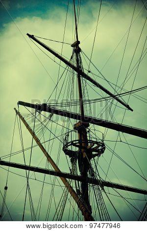 Ship Mast Silhouette Vintage Shot