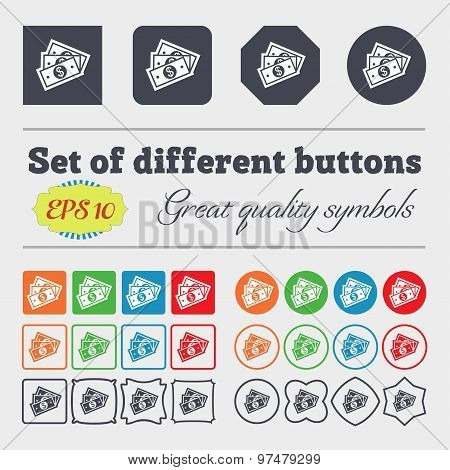 U.s Dollar Icon Sign. Big Set Of Colorful, Diverse, High-quality Buttons. Vector