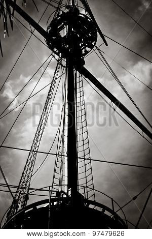 Old Ship Mast Silhouette, Vintage Black And White