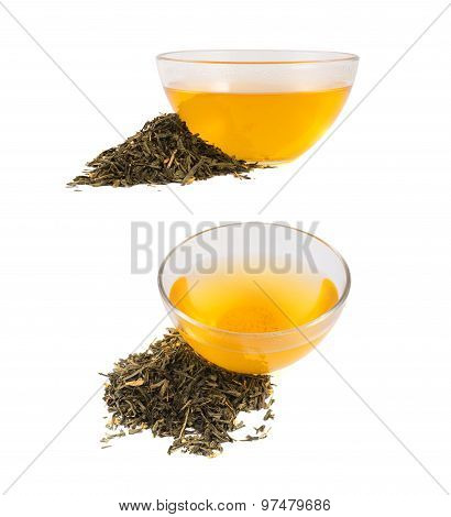 Glass bowl of tea isolated