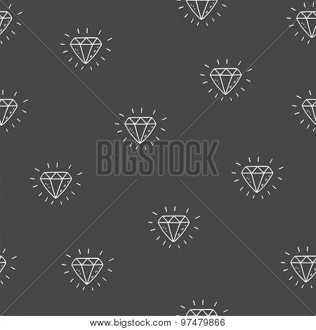 Seamless hand drawn vector background - diamond pattern