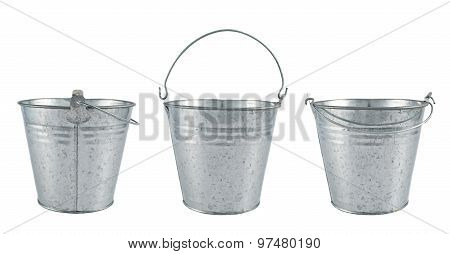 Metal zinc bucket isolated