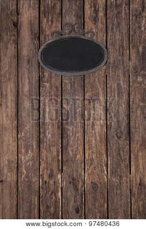 Old wooden vintage background with a tin sign.