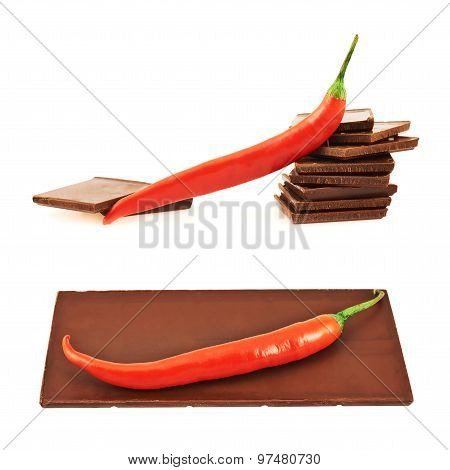 Chocolate and chili pepper composition