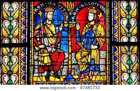 Stained Glass Of King David And Solomon In Cathedral Of Strasbourg