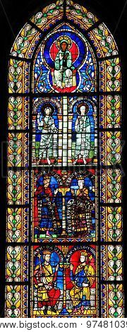 Stained Glass Of King Solomon In Cathedral Of Strasbourg