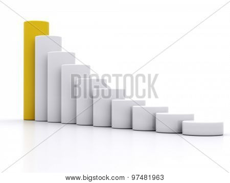 chart success of the cylinders on a white background with a yellow leader. 3d