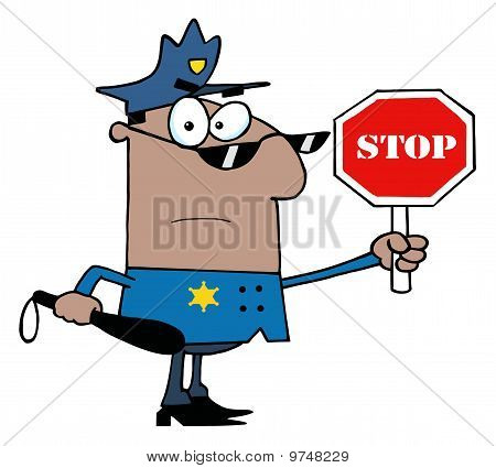 African American Traffic Police Officer
