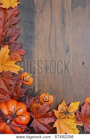 Happy Halloween Wood Background With Copyspace.