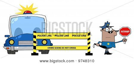 Yellow Police Line And African American Traffic Police Officer
