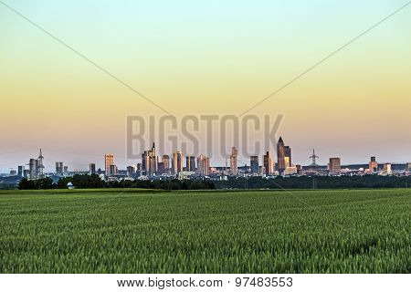 Panoramic View To Frankfurt Am Main In Horizon