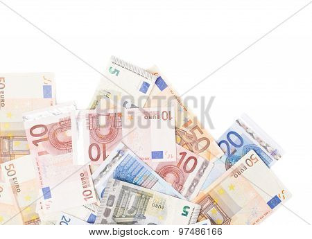 Multiple bank note euro bills
