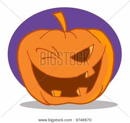 Halloween Pumpkin Character Winking
