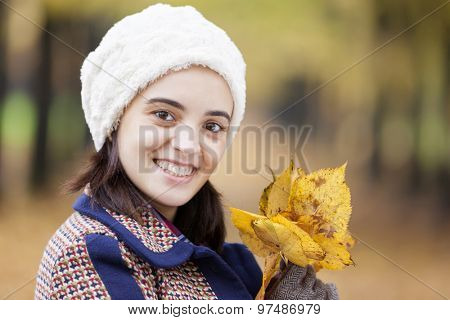 Happy smiling beautiful woman holding autumn leaves at the park