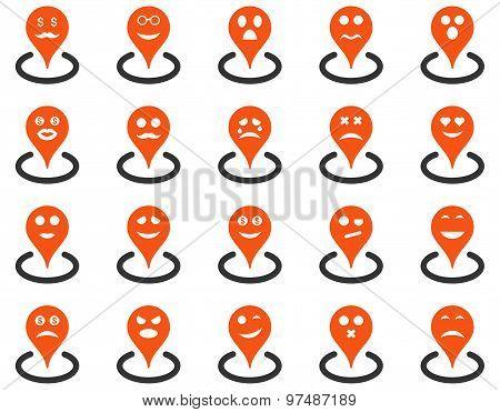 Smiled Location Flat Icon Set