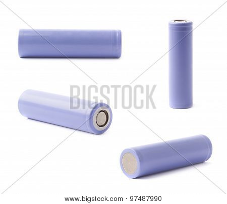 Violet rechargeable battery isolated
