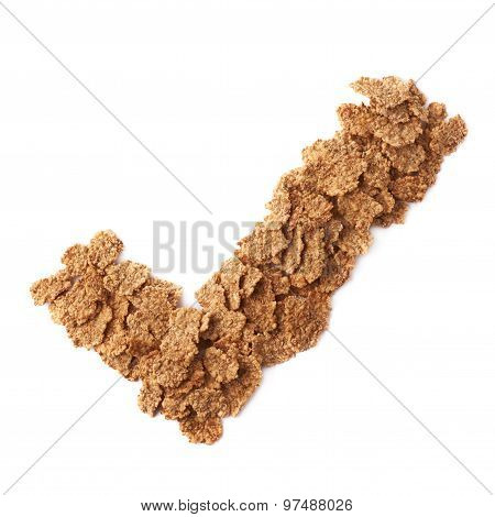 Yes tick sign made of cereal flakes