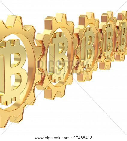 Row of a gears with a bitcoin sign