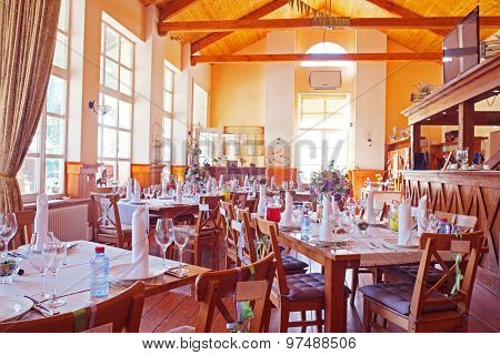 Cafe interior with the served tables
