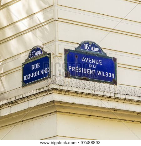 Paris, Avenue Du President Wilson - Old Street Sign