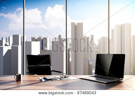 3D rendering - office workplace with city skyline in the background