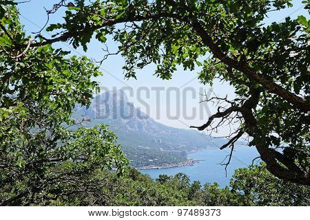 Landscape with the image of Crimean Mountains and Black Sea