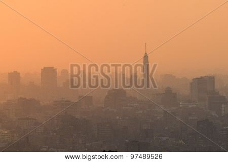 Cairo skyline at sunset with dense haze - Egypt