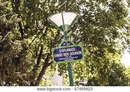 Paris France - Esplanade David Ben Gurion old street sign