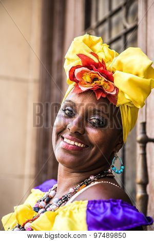 Portrait of cuban woman in Havana, Cuba