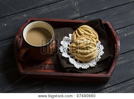 Cup Of Coffee And Homemade Shortbread On A Vintage Tray On A Dark Wooden Background