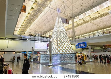 HONG KONG - DECEMBER 10, 2014: Swarovski firtree in Hong Kong International Airport. Swarovski AG is an Austrian producer of luxury cut lead glass, headquartered in Wattens, Austria