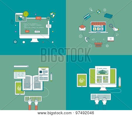 Flat design modern vector illustration icons set of online education and e-learning. Mobile marketin