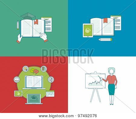 Flat design modern vector illustration icons set of education, online courses and e-learning