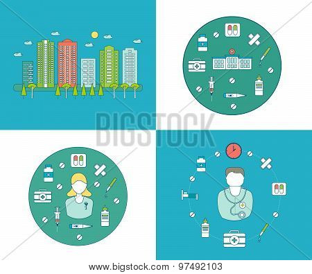 Flat design modern vector illustration concept for health care and pharmacy, urban landscape and cit