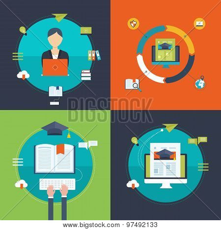 Flat design modern vector illustration icons set of strategy for successful business, online educati