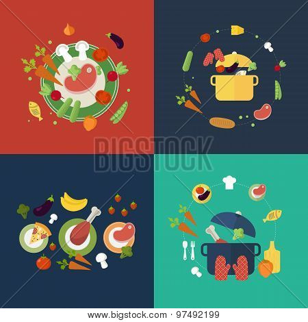 Set of flat design concept icons for food and restaurant.