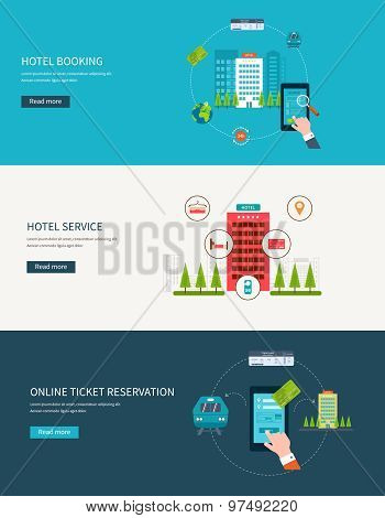 Railway station concept. Train on railway. Online ticket reservation. Hotel booking.