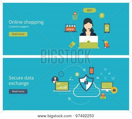 Set of flat design vector illustration concepts for data protection, data encryption, online shoppin