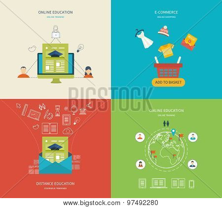 Flat design modern vector illustration icons set of online education, e-learning and online training