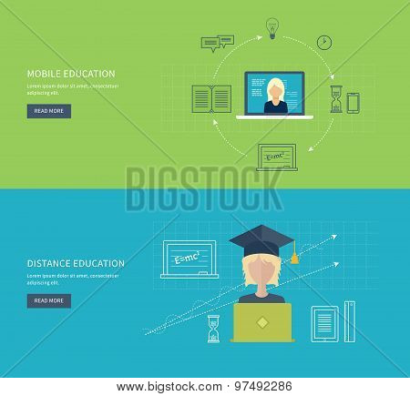 Flat design modern vector illustration icons set of online education and e-learning