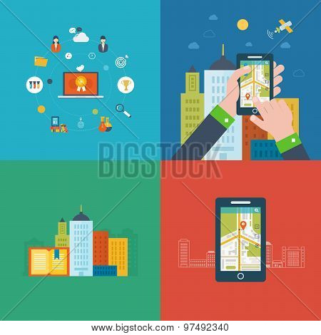 Flat design modern vector illustration icons set of online education, e-learning, mobile navigation,