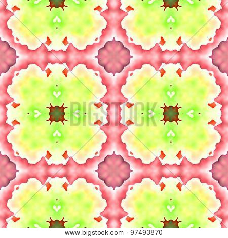 Seamless Mosaic Grid Pattern In Pink And Green