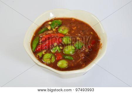 shrimp paste chilli sauce on bowl