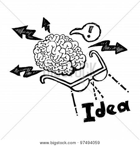 Business planning doodle Hand drawn vector