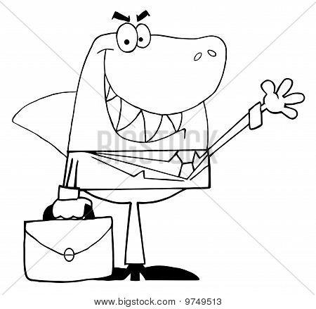 Outlined Business Shark