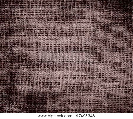Grunge background of deep taupe burlap texture