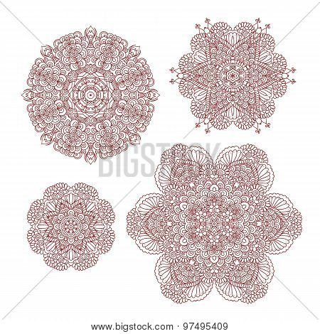 Mehndi henna abstract round patterns
